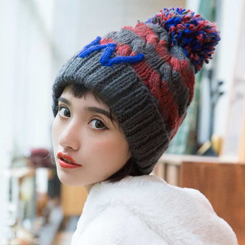Tanworders 2017 Autumn Winter Hat For Women Thick Warm Knitted Beanies Hat Fashion Letter W Pom Pom Skullies Gorras hot skullies beanies winter hat pom pom caps unicorn letter for women girl vintage warm spring autumn hat female woct4