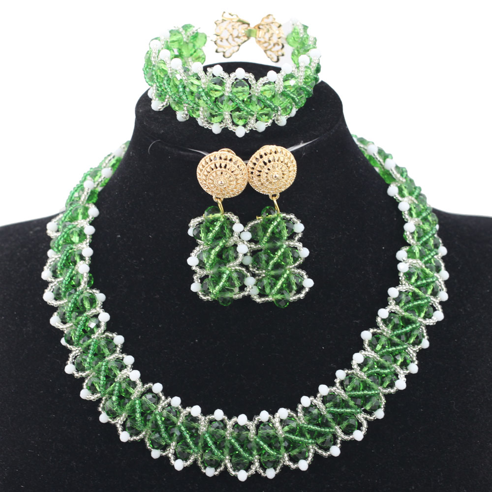 Green and White Chunky Statement Necklace Set African Party Events Girl Lady Jewelry Set Birthday Gift QW1211 alphabet and girl words cartoon birthday candle set