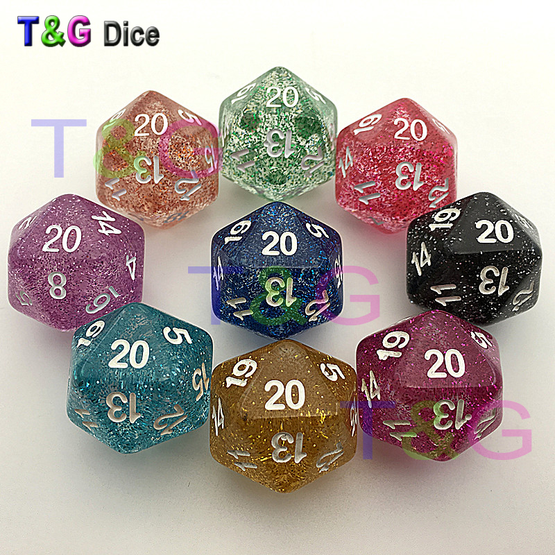 5pcs/set T&G High Quality Multicolor D20 Dice Set Glitter effect, 20 side Digital  for Board Game,educational accessories