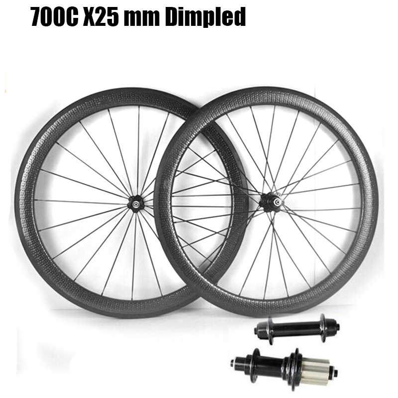 Catazer Full Carbon 700C 25mm wide 45mm 58mm 80mm power way R13 Hub Road Bike Carbon Dimpled Wheelset