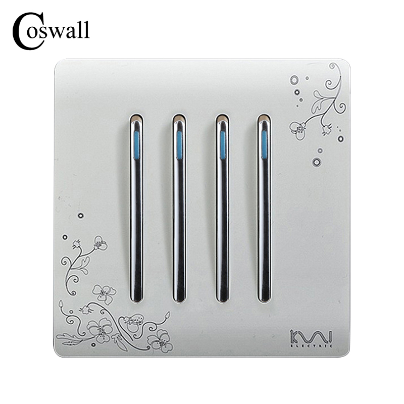 цена на COSWALL Fashion Wall Push Button Switch 4 Gang 2 Way Ivory White Brief Art Pattern Piano Key Light Switch AC 110~250V