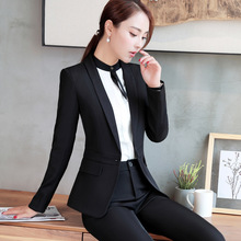 2017 new style women's suits Long sleeved Slim temperament office Lady 's fashion uniforms two-piece sets