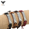1 PC Promotion Genuine Leather Strap Lovers Letter Bracelet Geometric Metal Tag Hemp Wrap Vintage Jewelry Couple Bracelet Bangle