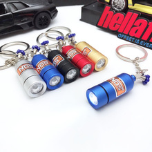 High quality Alloy NOS bottle LED light Car turbo keychain for bmw mercedes benz audi toyota honda ford accessories key ring