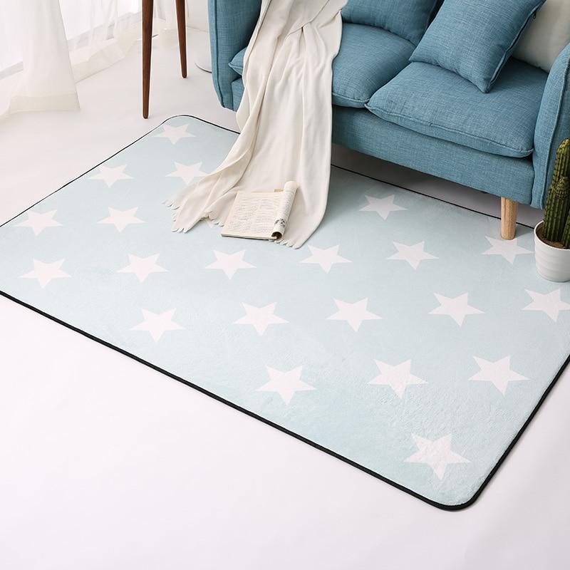 Five-Pointed Stars Carpets For Living Room Soft Velvet Rugs For Bedroom Children Room Play Floor Mat Coffee Tbale Area Rug