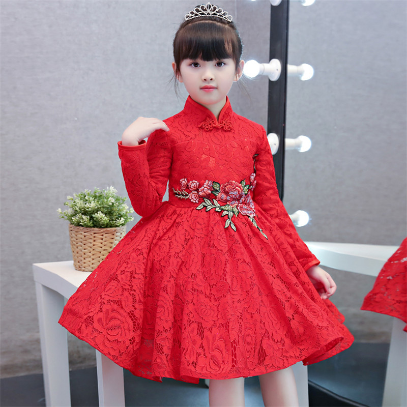 Autumn Winter Chinese Traditional Girls Kids Red Princess Cheongsam Dress Embroidery Flowers Qipao Birthday Wedding Party Dress red full length wedding dress elegant evening gowns chinese women embroidery flower qipao sexy cheongsam bride toast clothing