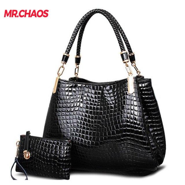 bonito diseño último descuento bueno US $24.92 5% OFF|Fashion crocodile borse women totes lady  handbag+purse/wallet carteras mujer big capacity black white shoulder kit 2  bags/set -in ...