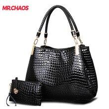 Moda crocodilo borse mulher totes senhora bolsa + bolsa/carteira carteras mujer grande capacidade preto branco ombro kit 2 bags/set