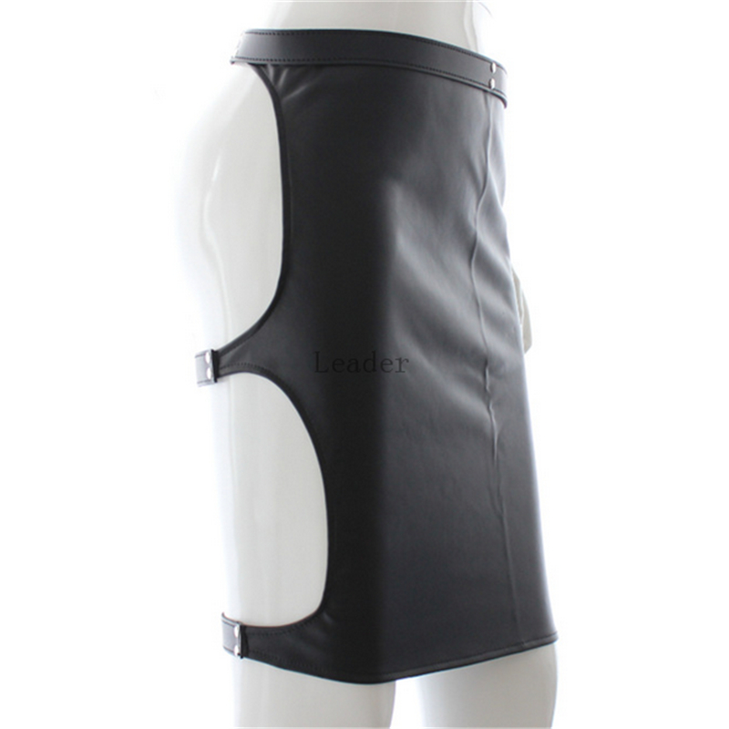 Newest Adjustable Bondage Female Black Skirt Leather Clothes Sexy Dancewear Costume Bondage Restraints Sex Products For Women
