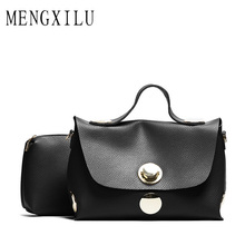 MENGXILU 2017 Luxury Handbags Women Bags Designer Lock Women's Leather Handbags Large Capacitain Casual Tote Bag Ladies Hand Bag