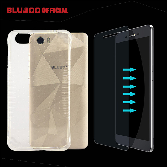 BLUBOO Picasso 4G Silicon Case Thin Clear Crystal Rubber TPU Soft Back Cover With Tempered Glass Flim 9H Safety Screen Protector