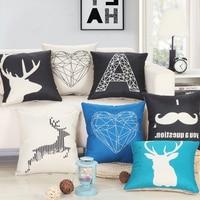 Fashion Elk Deer Pillow Covering Case Linen Decorative Throw Sofa Seat Car Cushion Cover Black White