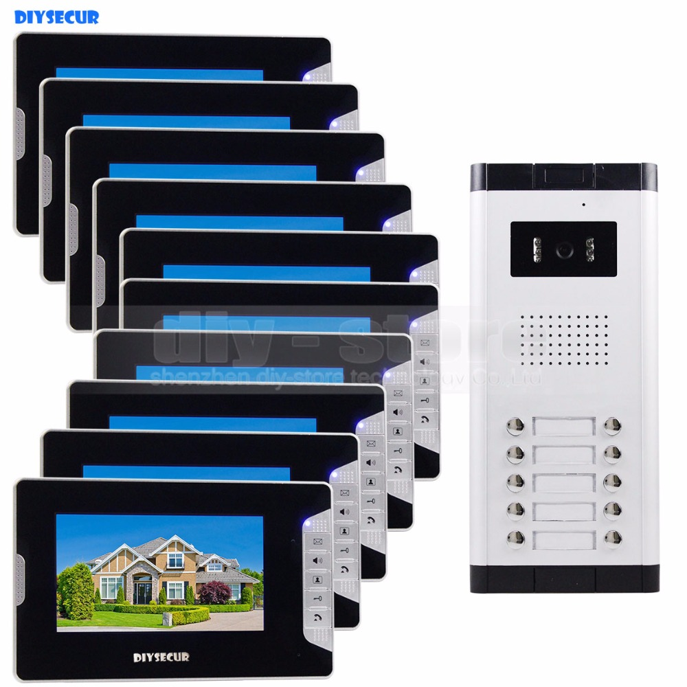DIYSECUR Quality 7 4-Wired Apartment Video Door Phone Audio Visual Intercom Entry System IR Camera For 10 Families diysecur 7 4 wired apartment video door phone audio visual intercom entry system ir camera for 6 families