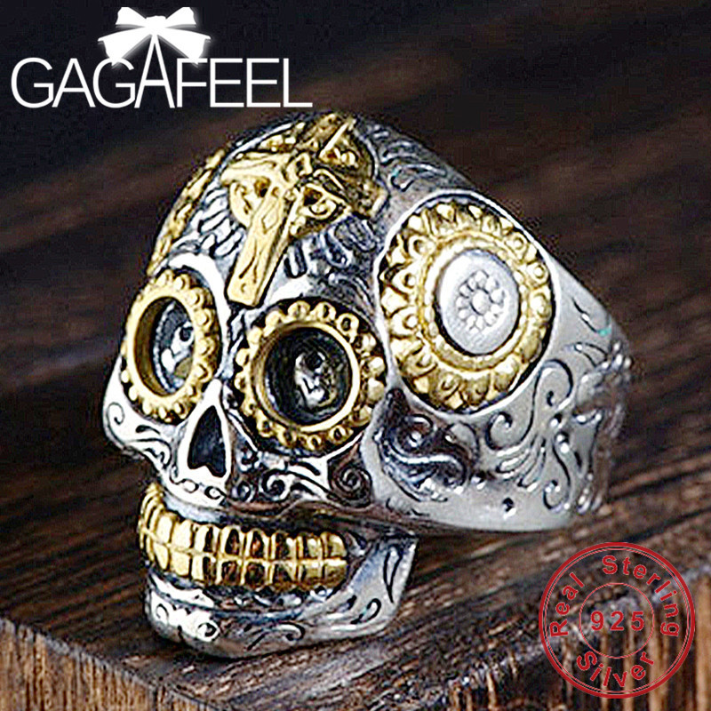 GAGAFEEL Real 100% 925 Sterling Silver Skeleton Rings For Men Male Punk Style Skull Ring Silver Jewelry Best Gift