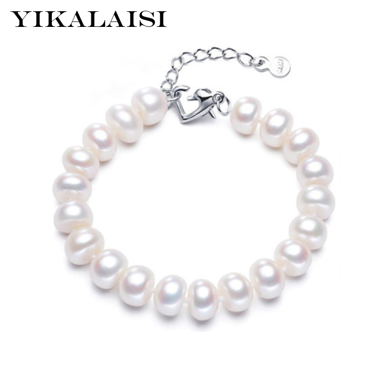 YIKALAISI 2017 100% real Natural Pearl jewelry Bracelet with 925 sterling silver jewelry For Women 8-9-10-11mm Pearl Best Gifts
