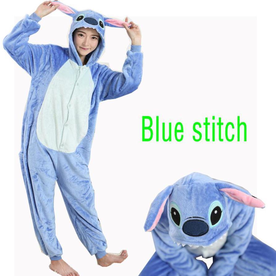 2017 Blue Lilo Stitch Cosplay Adult Women Winter Flannel Sleepwear Stitch Pajamas All In One Party Pajama