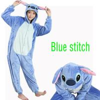 2017 Blue Lilo Stitch Cosplay Adult Women Winter Flannel Sleepwear Stitch Pajamas All In One Party Pajama