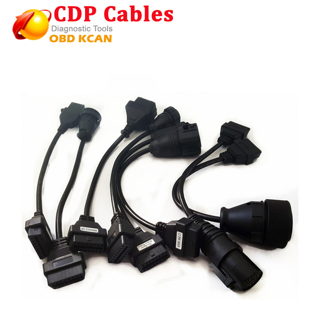 Newest Full Set 8 pcs Truck Cables OBD2 Diagnostic OBD OBDII OBD 2 Connect Cable For TCS CDP Pro car cables with free shipping
