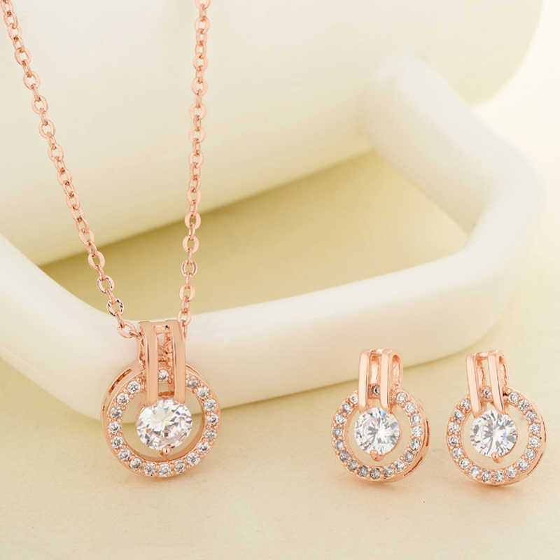 Trendy Round Jewelry Set For Women Lady Simple Zircon Rose White Gold Color Necklace+ Earrings Fashion Jewelry KBS303