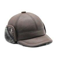 New Men S Scrub Genuine Leather Baseball Cap Russian Winter Warm Baseball Hat Cap With Faux