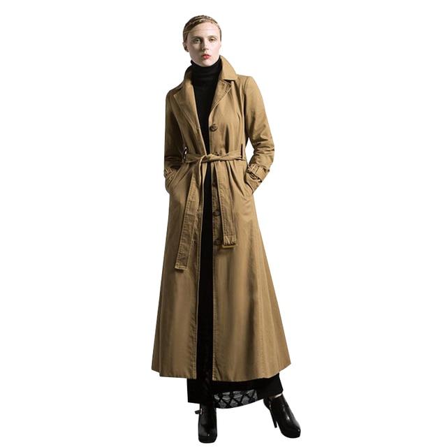 DF S-XXXL OL style British Fall Maxi Trench Women Ruffle Fashion Designer Full Sleeve Turn-Down Collar Coat Muslim Outwear 6288