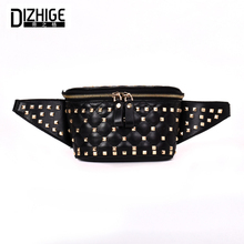 DIZHIGE Brand Fashion Women Waist Bag PU Leather Shoulder Bags Zipper Chest Travel Rivet Pack