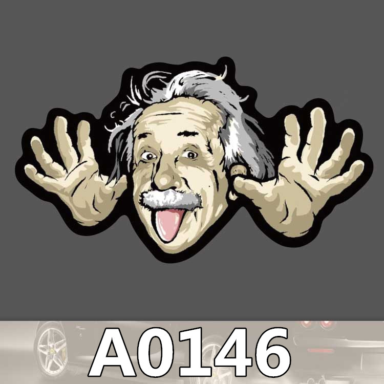 Bevle A0146 Einstein Fashion Waterproof Sticker For Cars Cool Laptop Luggage Skateboard Graffiti Cartoon Notebook Stickers