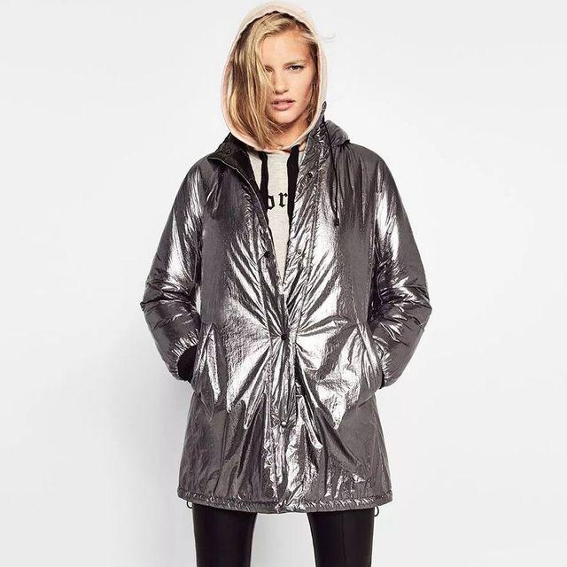 New Europeia Moda Prata com capuz parkas senhora do inverno casacos de algodão grosso mulheres personalidade de Metal cor longos casacos hoodies 6293