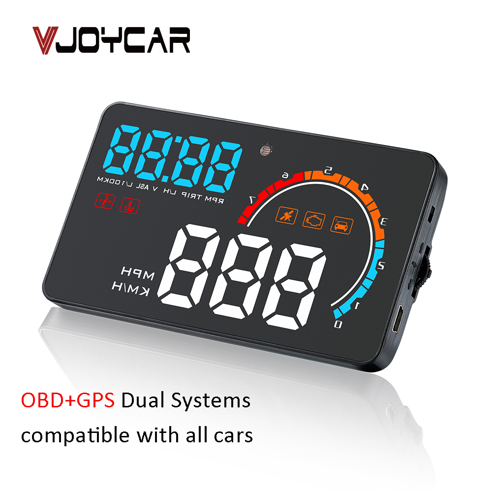 2019 New 2 in 1 HD HUD OBD2 On board Computer LED GPS Cars Speedometer Windshield