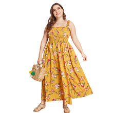 Kimuise plus size spaghetti strap mock summer women boho dress sexy split long dress floral print off shoulder beach maxi dress