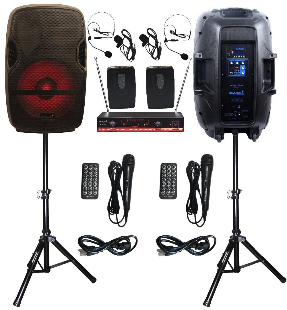 2 STARAUDIO SCSM-15RGB 2000W 15PA DJ KTV Stage Karaoke Powered Active FM BT SD USB Speakers With LED Light Stand 2CH VHF MIC