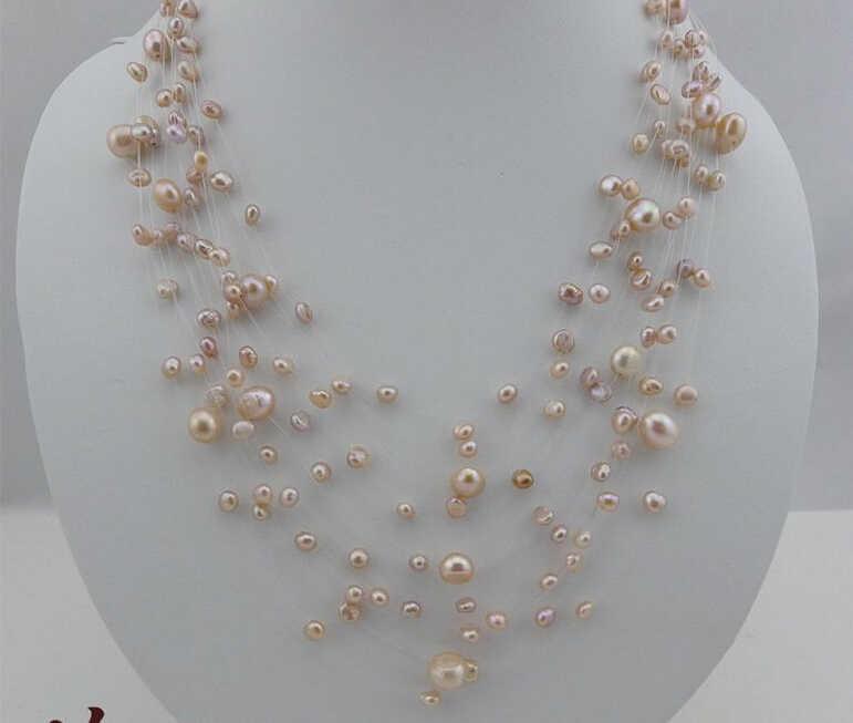 ZCD naszyjnik 514 + + + wielowarstwowy obcych gwiazda, naturalna perła słodkowodna naszyjnik, zamężna kobieta
