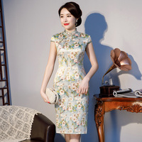 M 3XL Vintage Print Flower Mandarin Collar Girls Qipao Classic Formal Dress Vestidos Summer New Sexy Long Slim Cheongsam