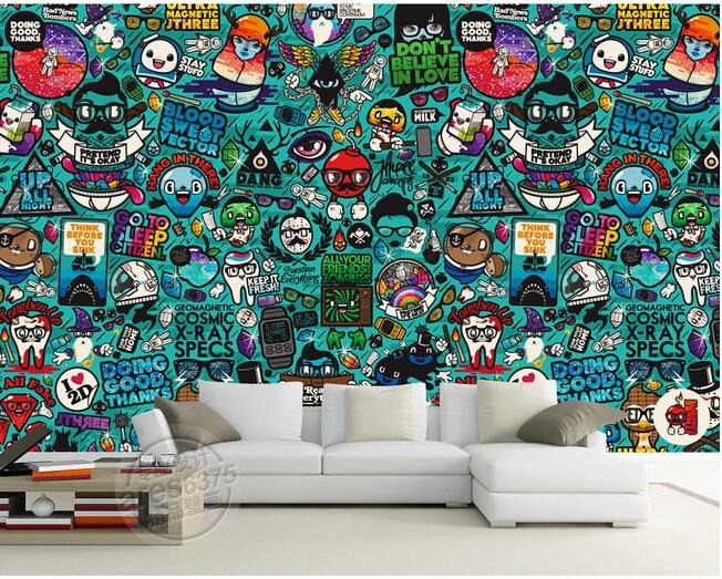 Custom kids wallpaper, graffiti murals for children\'s bedroom garden ...