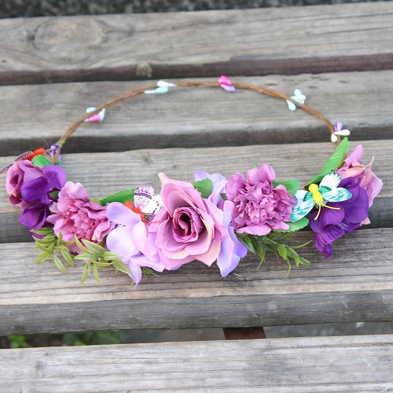 Purple Floral Meadow Crown Diadema Novia boda corona de flores dama - Accesorios para la ropa - foto 6
