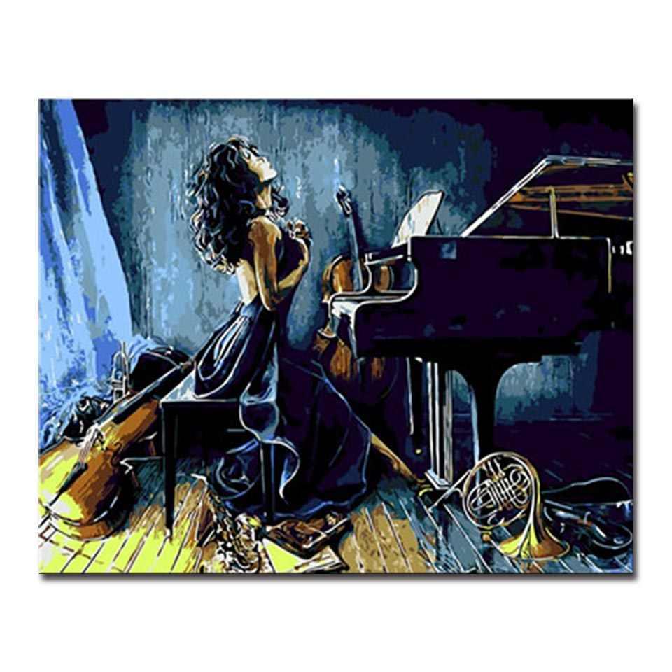 壁のアートワークにふける音楽世界女性塗料ホーム装飾数字モジュラー DIY のオイルデジタル絵画の写真