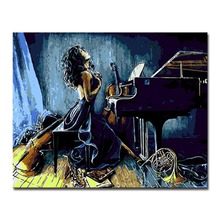 Wall Artwork On Canvas Indulge In Music World Woman Paints Home Decor By Numbers Modular DIY Oil Digital Painting Pictures