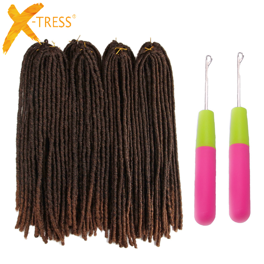 X-TRESS 20inch Soft Dreadlocks Crochet Braids Kanekalon Jumbo Dread Hairstyle Ombre Synthetic Faux Locs Braiding Hair Extensions