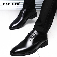 DADIJIER 2018 mens pointed toe dress shoes black autumn summer Classic formal Oxford shoes Men genuine leather wedding Shoe ST99