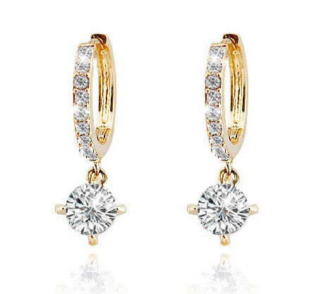 real Zircon stone AAAA+ Rhinestones Circle Drop earrings Top quality copper women cute girl fashion jewelry free shipping bridal
