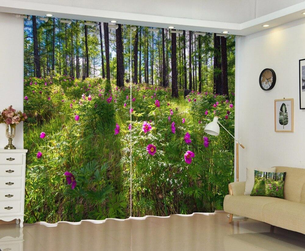 2017 forêt paysage occultant fenêtre rideaux de luxe 3D rideaux pour salon chambre bureau hôtel maison mur tapisserie