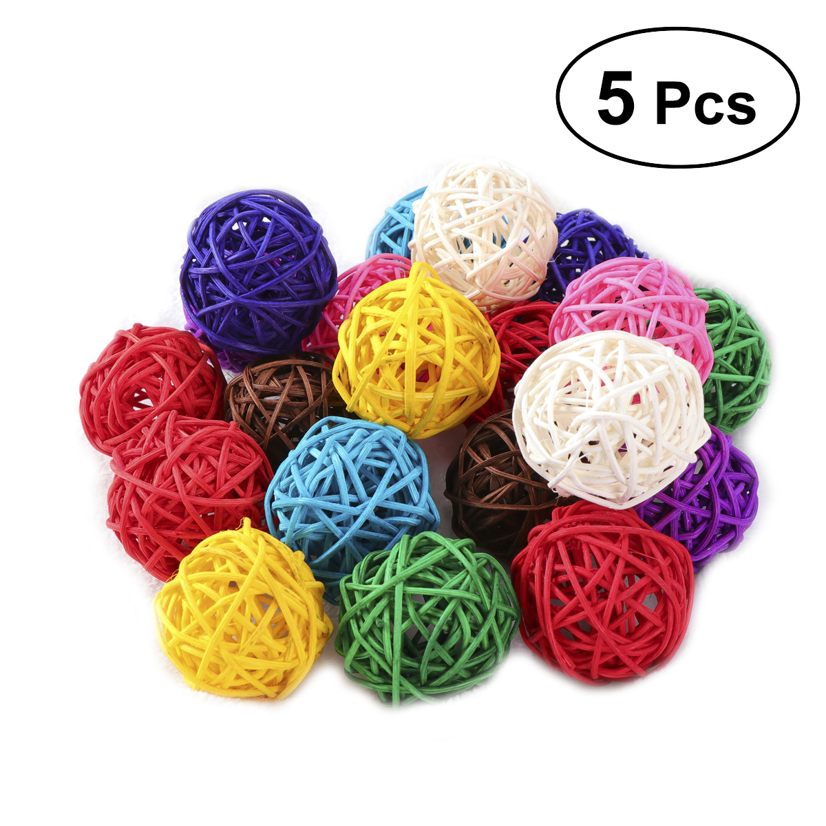 assorted Color Strengthening Sinews And Bones 5pcs Wicker Rattan Ball Wedding Christmas Party Hanging Dec Nursery Mobiles 3cm