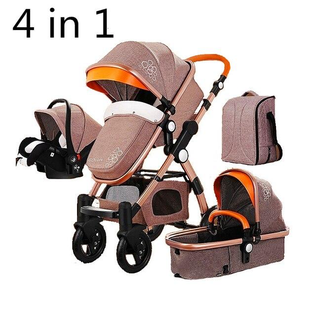 Kinderwagen 4 in 1 met Autostoel Voor Pasgeboren Hoge View Kinderwagen Vouwen Kinderwagen Travel System carrinho de bebe 3 em 1 1