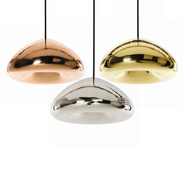 Gold Silver Copper Lampshade Glass Pendant Light Fixtures Modern