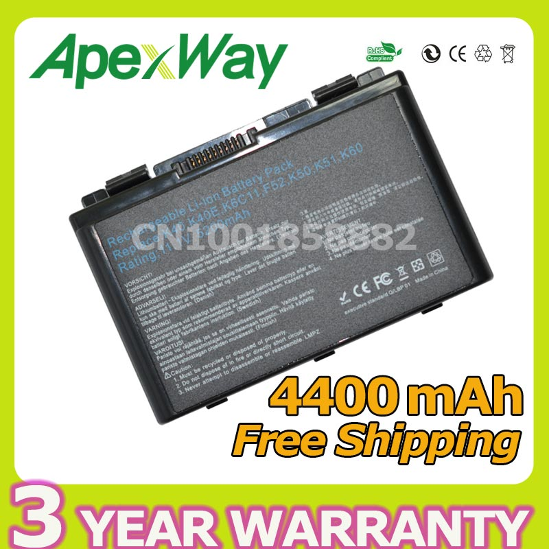 Apexway 4400mAh battery For Asus K50A K50AB K50AD K50AE K50AF K50C K50E K50I K50ID K50IE K50IJ K50IL K50IN K50IP K50X K51 K51A gzeele new laptop lcd back cover case for asus k50 k50ab k50ad k50ae k50af k50c k50i k50id k50ij k50in k50il k50ip k50ie a shell
