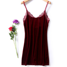 Sexy sleepwear women red gold velvet V-neck sexy strap nightdress split nightgown A word night dress ladies home service