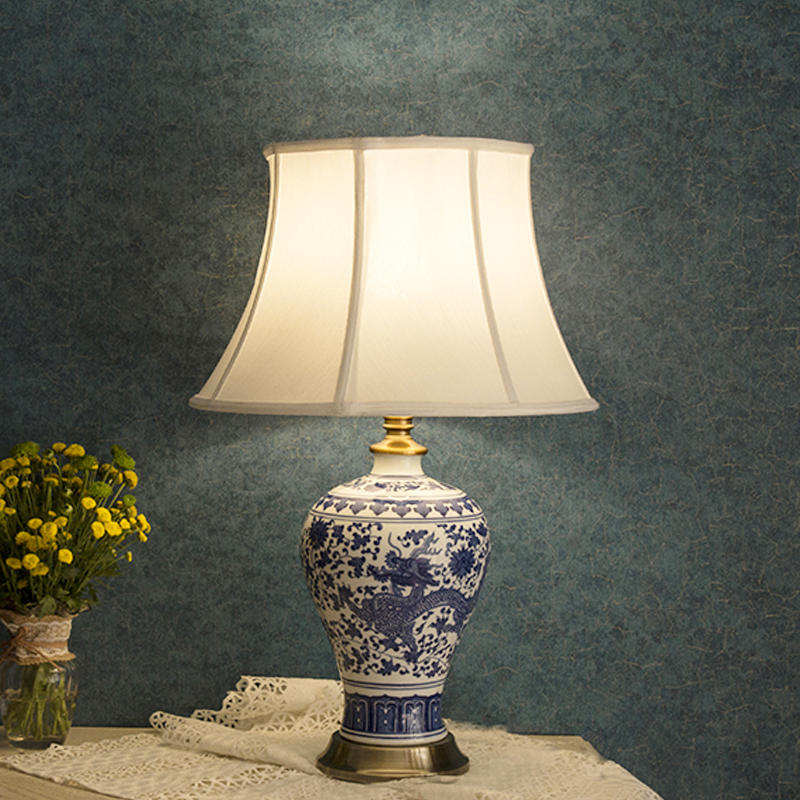 US $239.8  Blue and white Jingdezhen Chinese ceramic table lamp bedroom  living room dining room decoration dragon table lamp traditional-in Table  ...