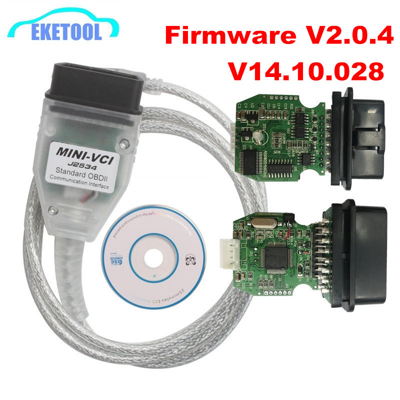 Firmware V2.0.4 MINI VCI V14.10.028 K Line CAN For Toyota TIS Techstream FTDI FT232RL Multi Language MINI VCI