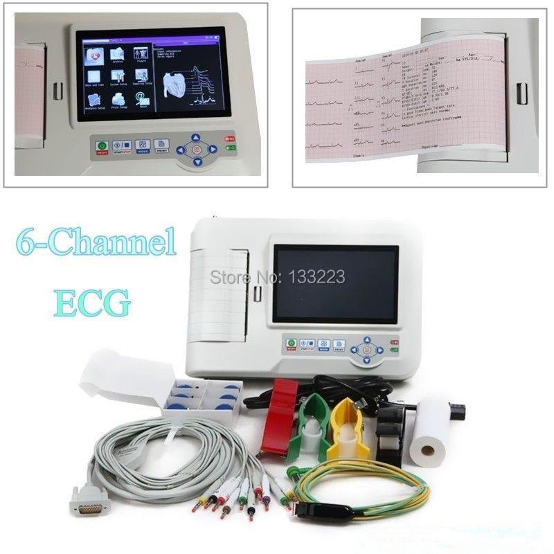 Color Digital 3/6 Channel  desktop 12-lead Caardiology ECG Heart Rate Monitor Touchscreen EKG Machine