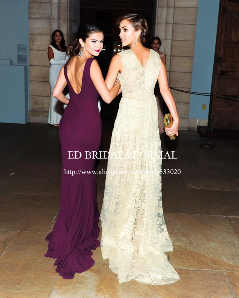 Selena Gomez Grape Prom Dress MET Gala 2014 Red Carpet (3)